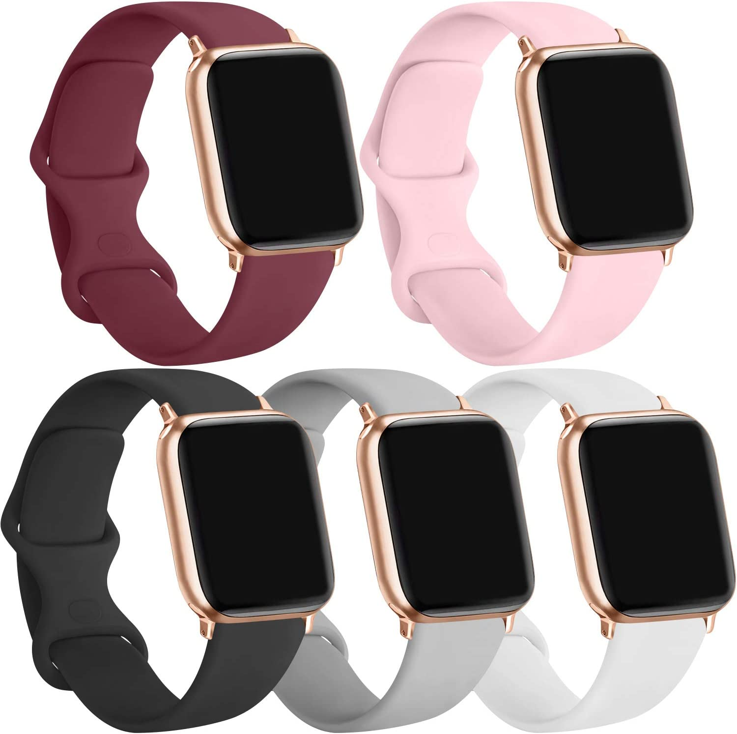 [5 Pack] Silicone Bands Compatible for Apple Watch Bands 38mm 40mm, Sport Band Compatible for iWatch Series 6 5 4 3 SE, Wine red/Pink/Black/Gray/White, 38mm/40mm-S/M