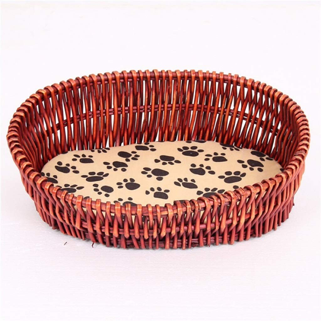 Brown LGWM Kennels Summer Rattan Dog Bed,Pet Bed,Cat Bed,with Comfortable Mattress Handmade (color   Brown, Size   L)