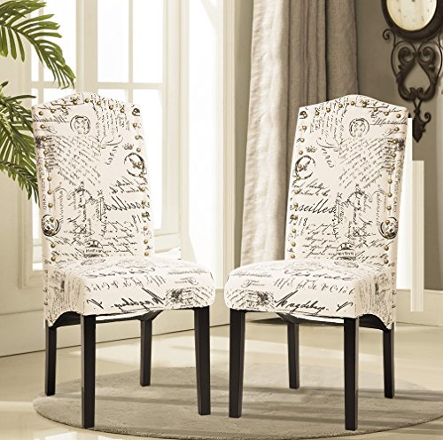 Merax Script Fabric Accent Chair Dining Room Chair with Solid Wood Legs, Beige ,Set of 2 (Chairs Dining Upholstered)