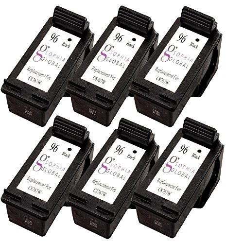 Sophia Global Remanufactured Ink Cartridge Replacement for HP 96 (6 Black)