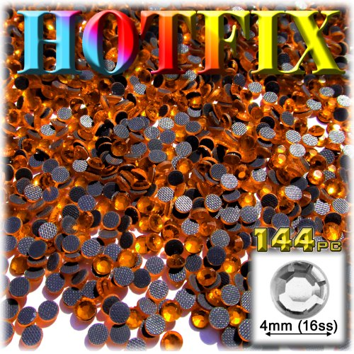 The Crafts Outlet DMC HOT-FIX Superior Quality Glass 144-Piece Round Rhinestone Embellishment, 4mm, - Outlets In Orange