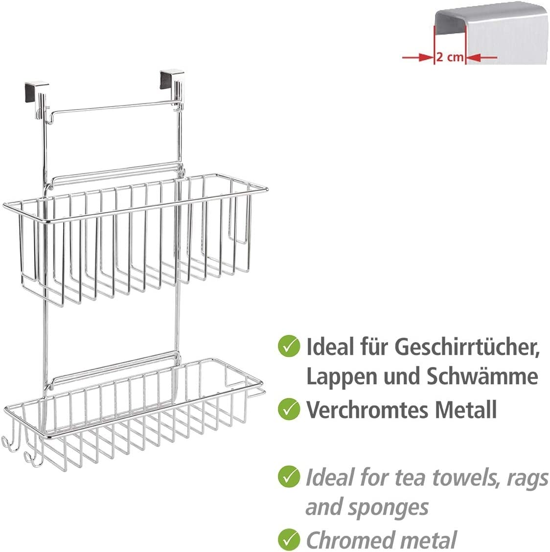 Amazon Com Wenko Clip On Rack With 2 Shelves Silver Home