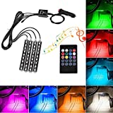 Car LED Interior Lights 4PCS 9 LED Multi-color Atmosphere Neon Lights Kit with Wireless IR Remote Control and Sounds Active Function