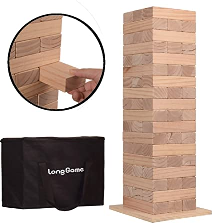 Outdoor Giant Toppling Tumbling Tower Games for Kids and Adults Jumbo Wood Stacking Lawn Yard Game with Carry Bag 7 x 2.4 x 1.2 inches