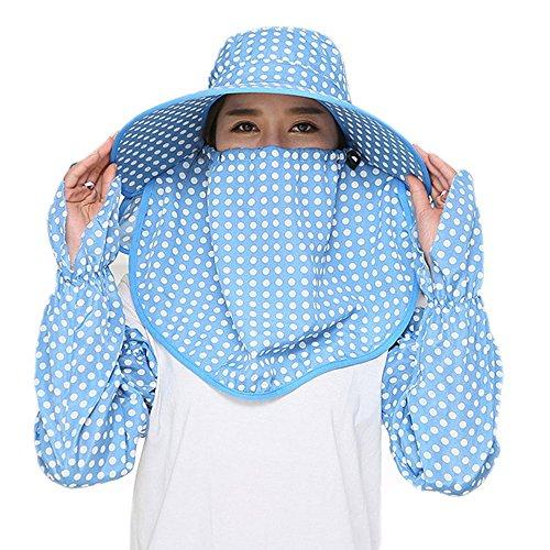 Guerbrilla Women Wide Brim Summer Sun Flap Cap Hat Neck Cover Face Mask UPF 50+ - Wide Face Women