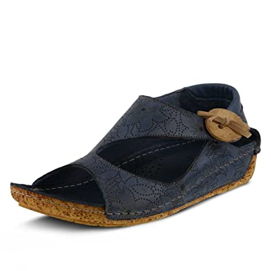 Spring Step Womens lorelle Blue Leather Sandal - 35