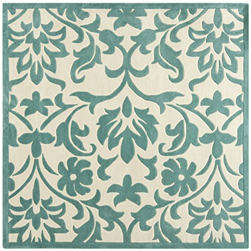 Safavieh Modern Art Collection MDA635A Handmade Floral Vines Ivory and Light Blue Polyester Square Area Rug (7' Square)