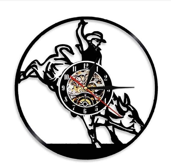 NOEzyf Vinyl Record Reloj De Pared Vaquero Salvaje Oeste