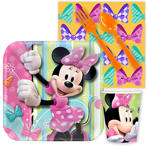 Costume Supercenter BBBBKIT1006 Minnie Mouse Birthday Party Standard Tableware Kit