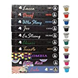 Cafe Joe USA Espresso Capsules, 10 VARIETY SAMPLER PACK, Nespresso Original Compatible Pods featuring Extra Strong, Colombian, Cuban and Costa Rican Blends, 10-Count Sleeves, (100 Capsules)