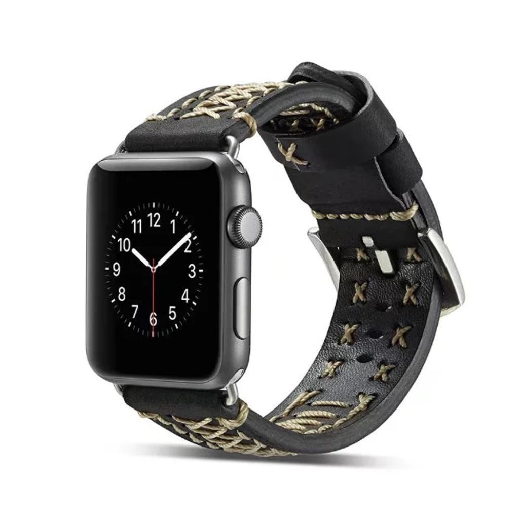 レザー腕時計ブレスレットストラップバンドwith Frame for Apple Watchシリーズ1 / 2 / 3 38 mm / 42 mm交換用リストバンドアクセサリー  ブラック 42mm B078RYPHK4