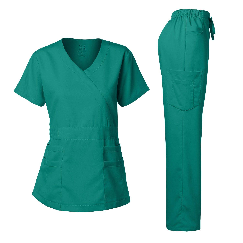 Junior style-Tab Waist Wrap Top & Unisex Multi-Pocket Pants Teal Green XS