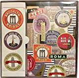 Fringe Studio Travel Labels Boxed Set of 12 Blank Note Cards (includes Stickers) 907006