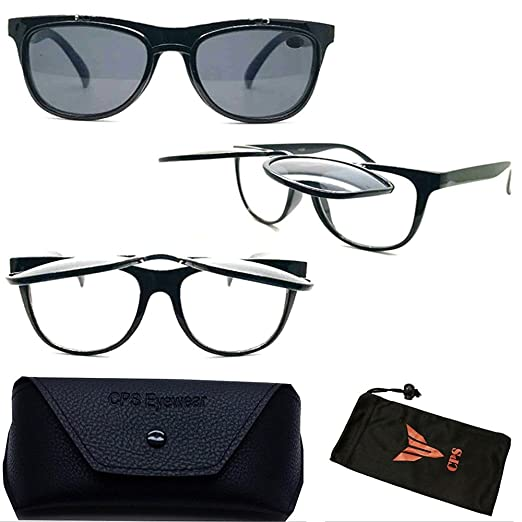 e40eb52507ab Amazon.com  Retro Style Flip Up Sun Readers Men Women Unisex Plastic Frame  Optical Readers  Clothing