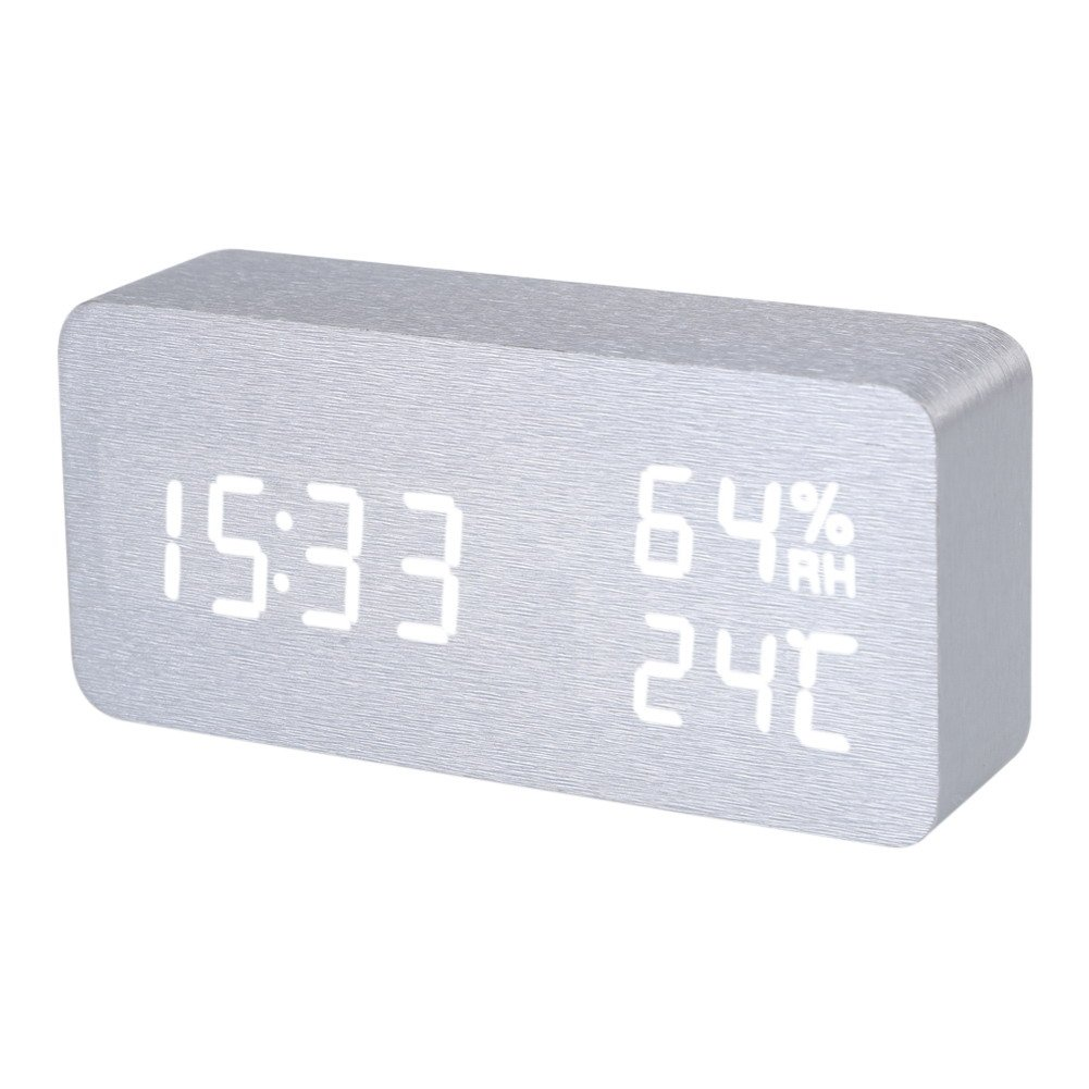 FunnyToday365 Silver White Voice Humidity Digital Clock Wooden Electronic Desk Table Clock Led Display Alarm Clock Reloj Despertador