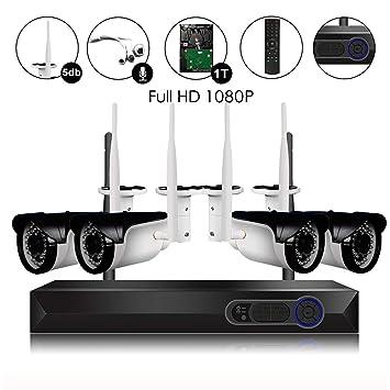 CAMVIEW Wireless Security Camera System 4pcs 1080P(2 0MP) WiFi CCTV IP  Camera + 4CH HDMI NVR Home Video Surveillance System, Microphone Plug,  Night