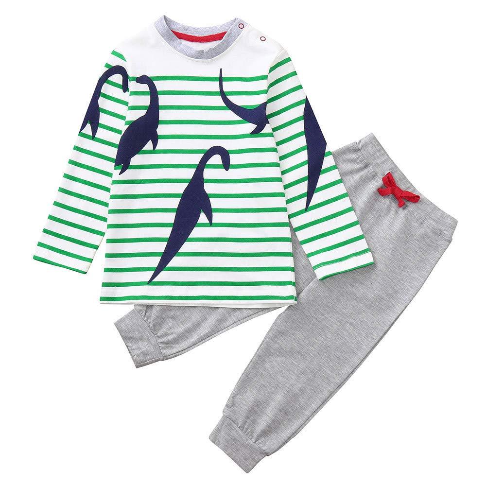 Yamally 2PCS Cute Children Kids Boys Girls Dinosaur Print Top+Long Pants Set Outfit