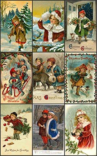 "Victorian Vintage Children # 102 Christmas Card Collage Sheet 8.5 x 11"""