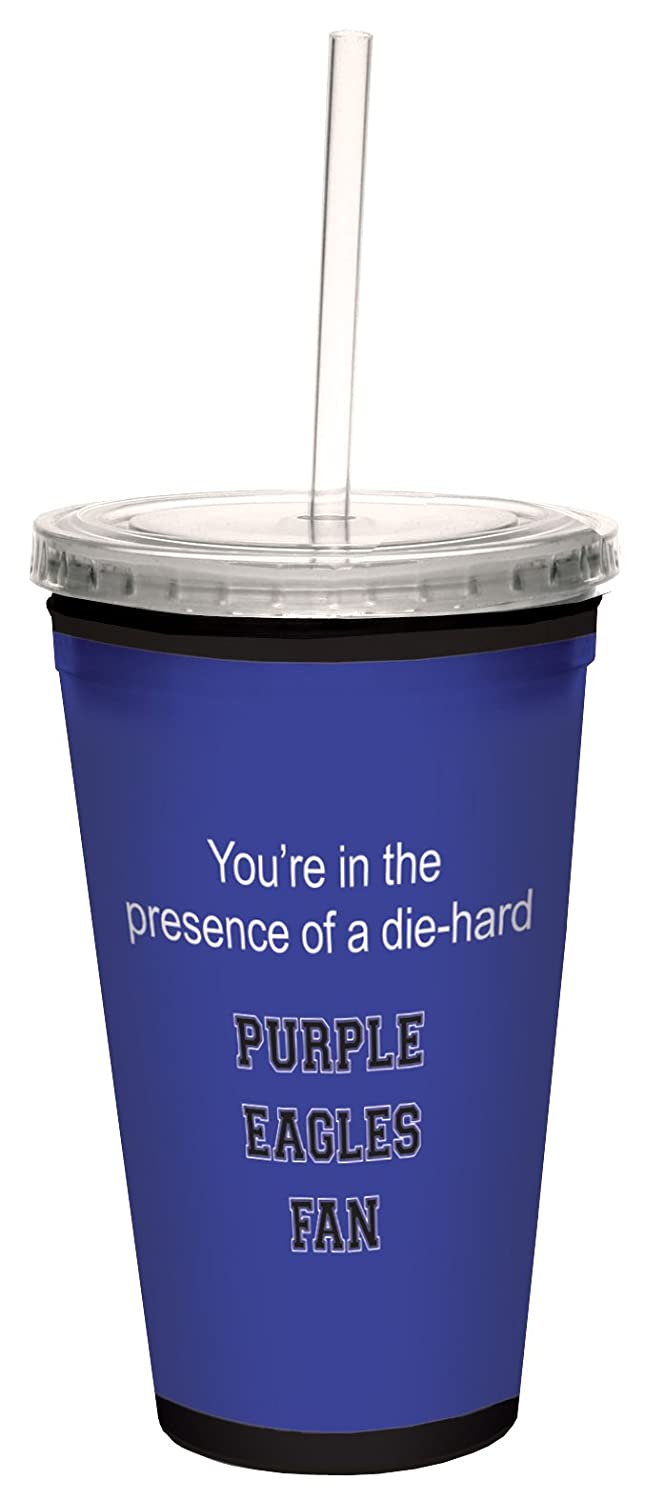 Tree-Free Greetings cc34810 Purple Eagles College Basketball Artful Traveler Double-Walled Cool Cup with Reusable Straw 16-Ounce