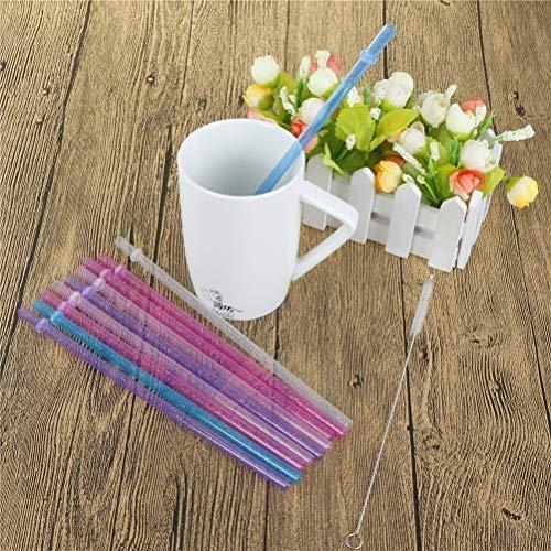 (Disposable Party Tableware - 25pcs Set Reusable Distored Color Beverage Hard Plastic Stripe Drinking Straws - Disposable Tableware Party)