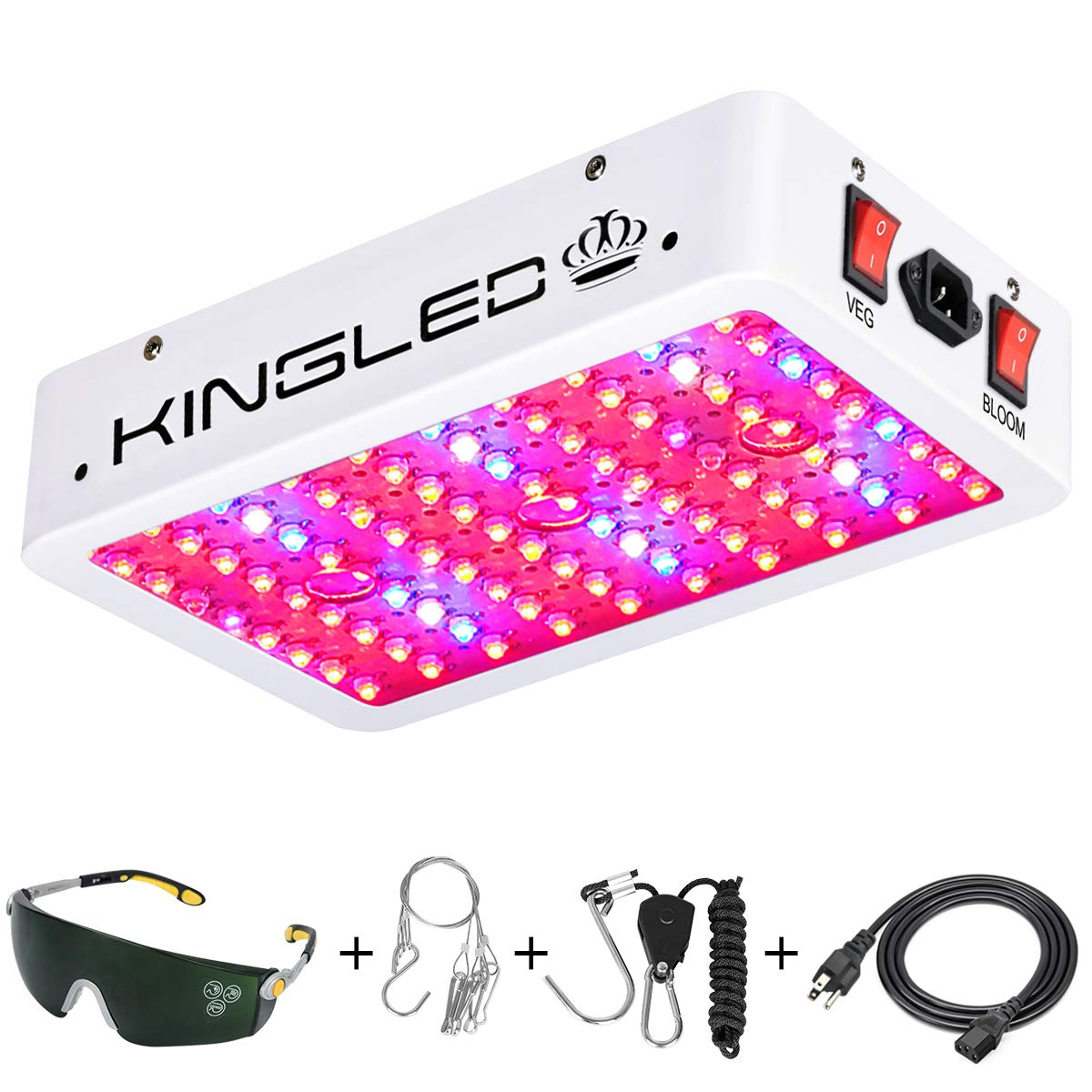 King Plus 1000w LED Grow Light Double Chips Full Spectrum with UV&IR for Greenhouse Indoor Plant Veg and Flower by KingLED