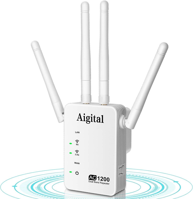 Aigital WiFi Repetidor, 1200Mbps Extensor de Red WiFi (2.4G&300Mbps+5G 867Mbps) Amplificador señal WiFi con 4 Antenas Externas, 2 Puerto Ethernet, ...