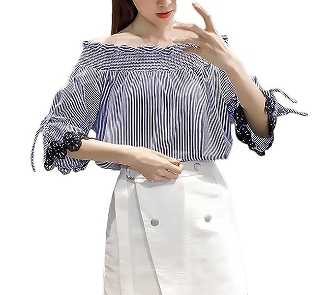 Battercake Camisas Mujer Elegantes Trompeta Manga Encaje Splicing Hombros Descubiertos Tops Fiesta Casuales Mujeres Moda Vintage