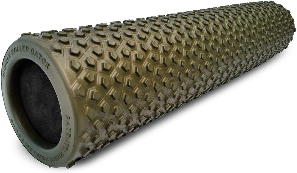 RumbleRoller Gator – 22 Foam Roller – Foam Muscle Roller Optimized for Cross Frictional Massage Patent Pending Back Roller- Reduces Sore Muscles Relieve Back Muscle Pain