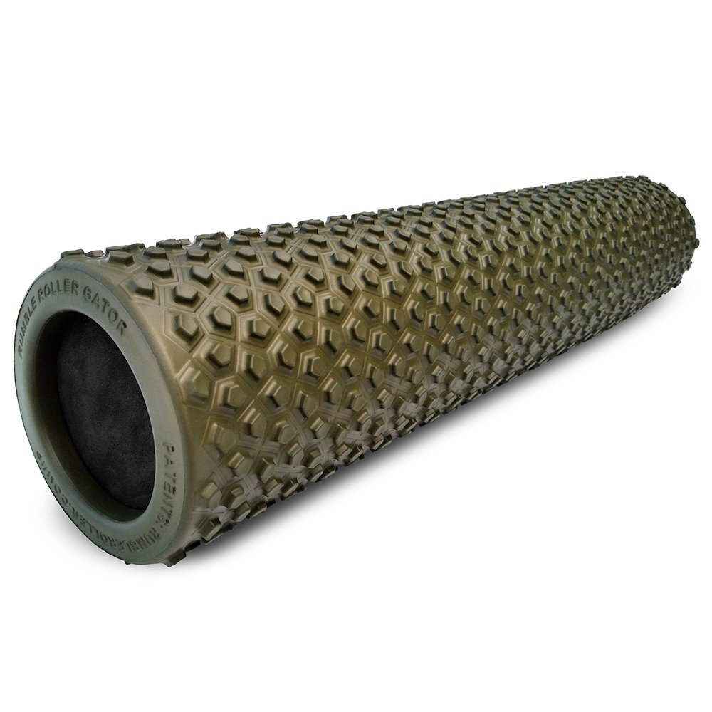 "RumbleRoller Gator - 22"" Foam Roller - Foam Muscle Roller Optimized For Cross Frictional Massage – Patent Pending Back Roller- Reduces Sore Muscles + Relieve Back Muscle Pain"