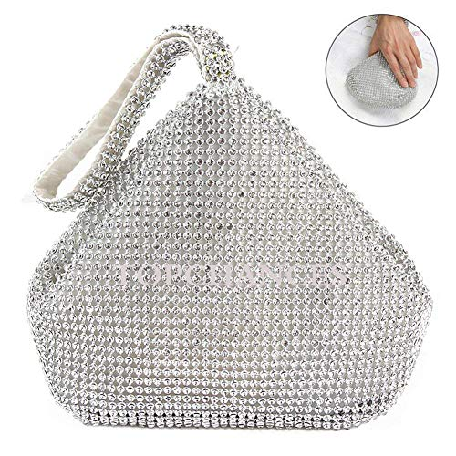 TOPCHANCES Upgrade Large Size Women Rhinestones Crystal Evening Clutch Bag Party Prom Wedding Purse-7.9inch X 2.6inch X 11.8inch