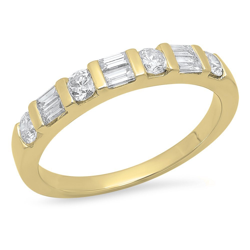0.47 Carat (Ctw) 14K Yellow Gold Round & Baguette Cut White Diamond Wedding Band Ring 1/4 CT (Size 6)