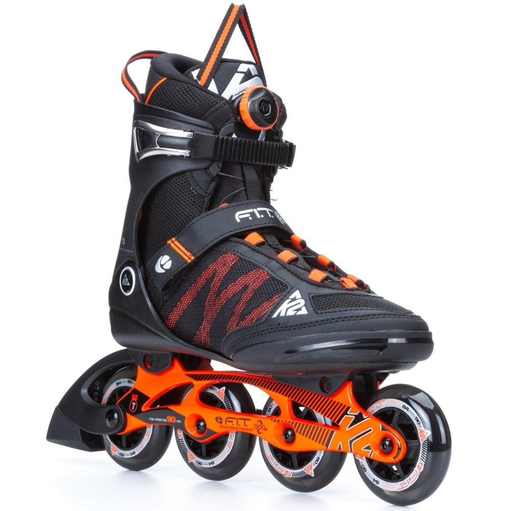 K2 Skate Men's F.I.T Boa Inline Skates, Black/Orange, 8 by K2 Skate