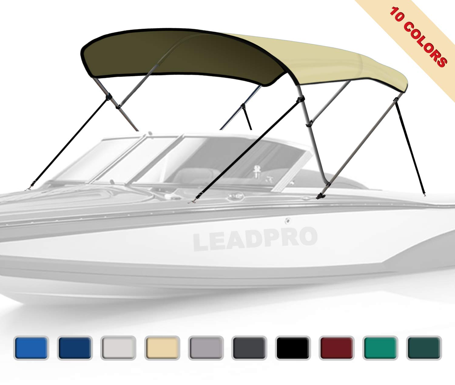 Leadpro 10 Optional Colors 13 Different Sizes 3-4 Bow Bimini Top Boat Cover with 4 Straps, Mounting Hardwares & Storage Boot (Beige, 3 Bow 6'L x 46'' H x 54''-60'' W) by Leadpro