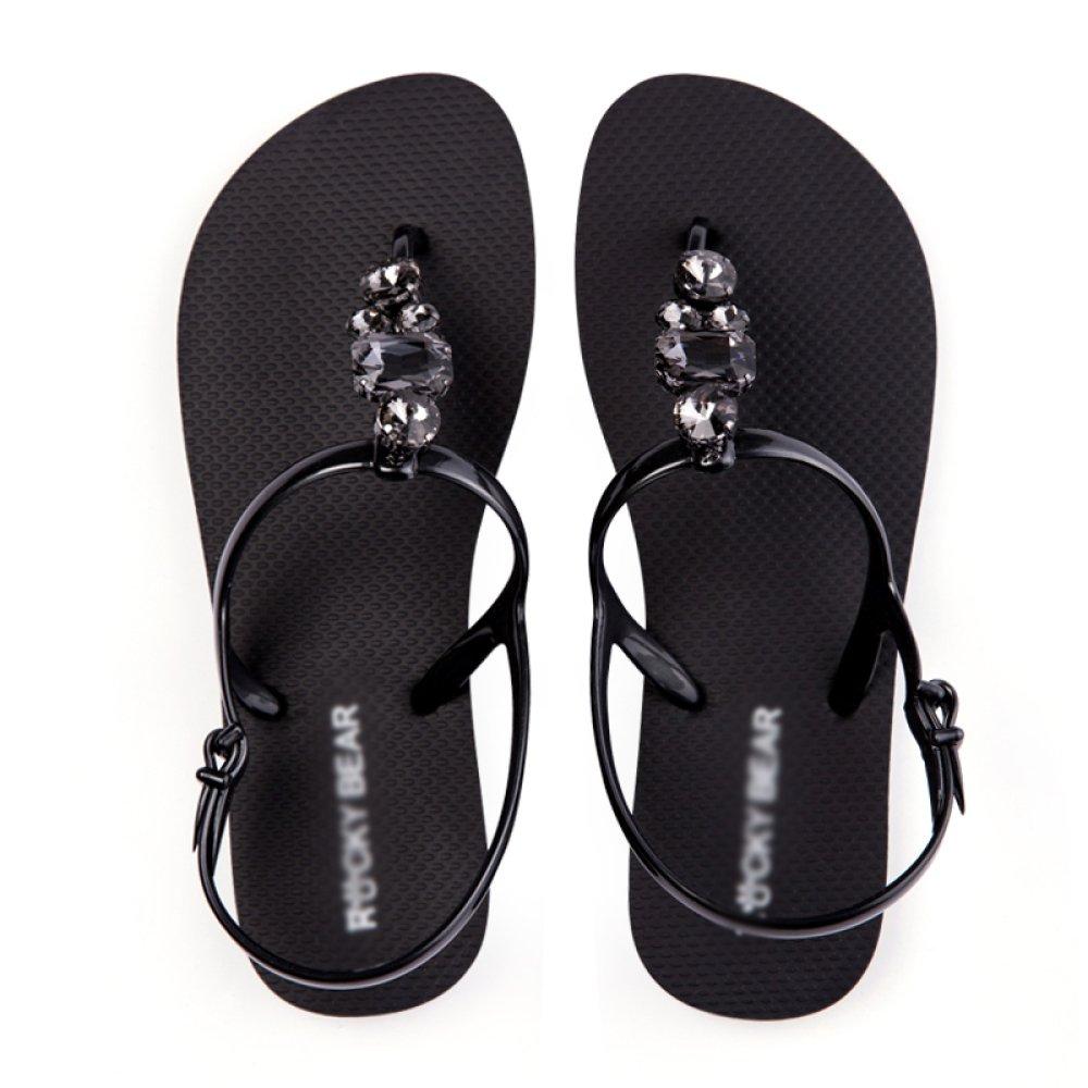 Damen Flache Sandalen Sommer Damenschuhe Mode Flache Damen Füße Seaside Beach Sandalen schwarz a36aaa