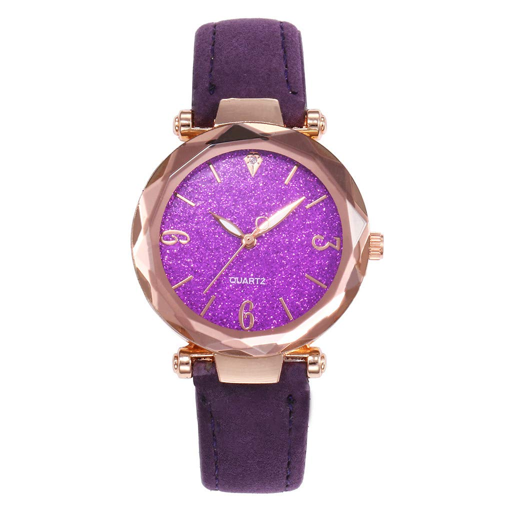 Starry Sky Watch for Women, Crystal Dial Analog Quartz Wristwtach with Suede Pu Leather Band BravetoshopV435RU(Purple) by Bravetoshop- Watch (Image #1)