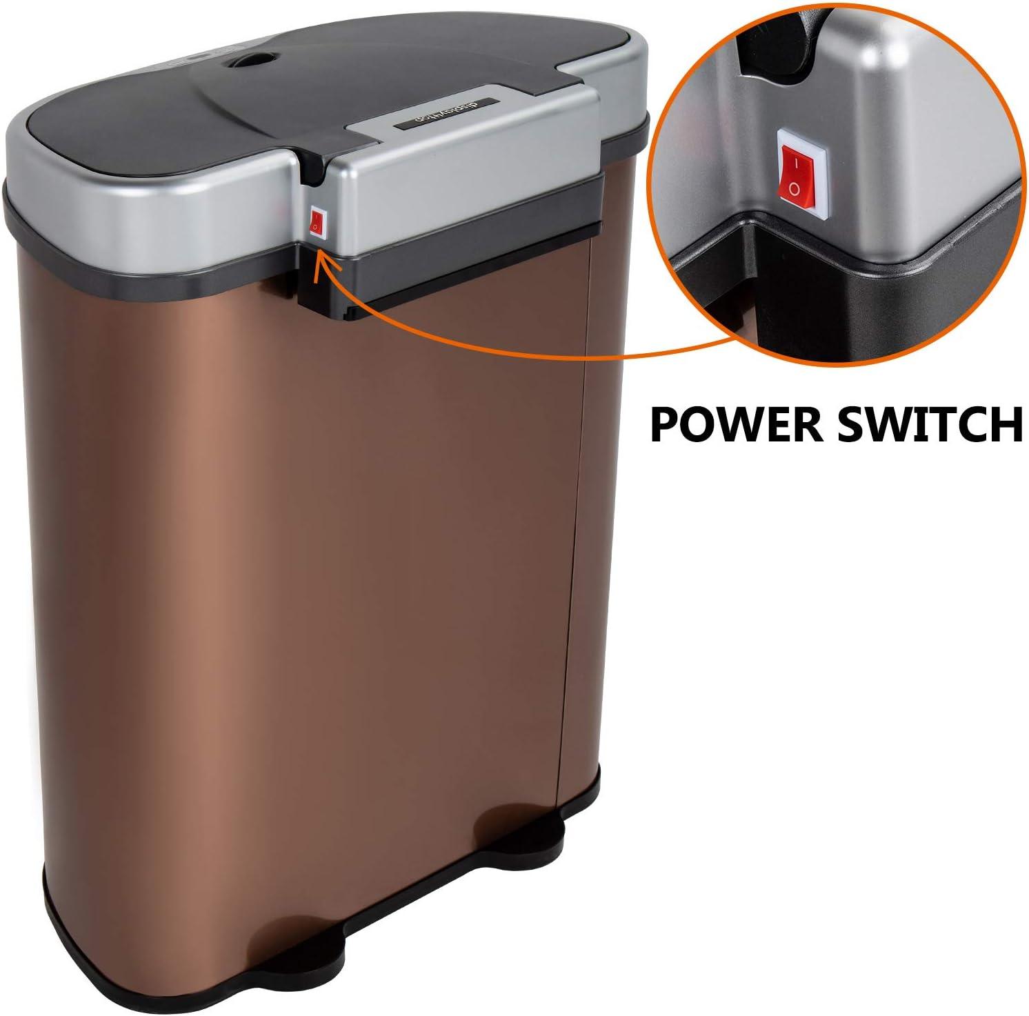 K/ücheneimer mit M/ülltrennung 2 F/ächer FOBUY D4P Display4top Sensor M/ülleimer 70 Liter,Hochwertiger Edelstahl Automatik Abfalleimer