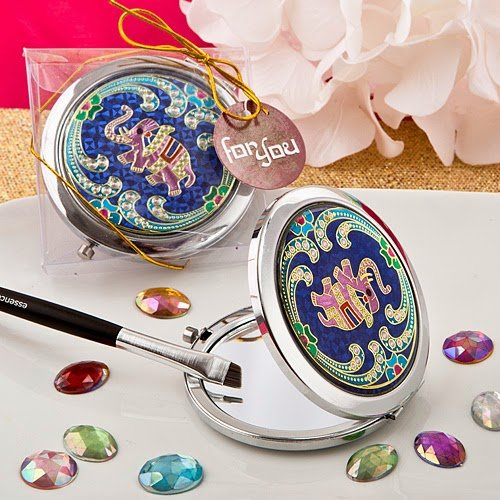 60 Indian Elephant Themed Metal Compact Mirror by Fashioncraft