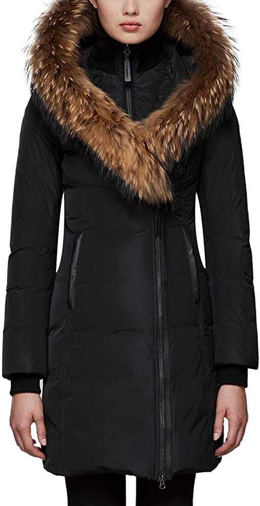 059133185 Kay Mid Length Classic Down Coat With Fur Collar