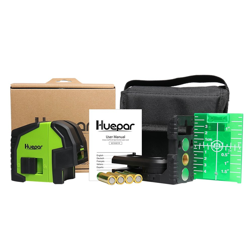 Multi-Use Self-Leveling Alignment Laser Level Levelsure Huepar 8211G Professional Green Laser Beam Fan Angle of 130/° Selectable Vertical /& Horizontal Lines Cross Line Laser Level with 2 Plumb Dots
