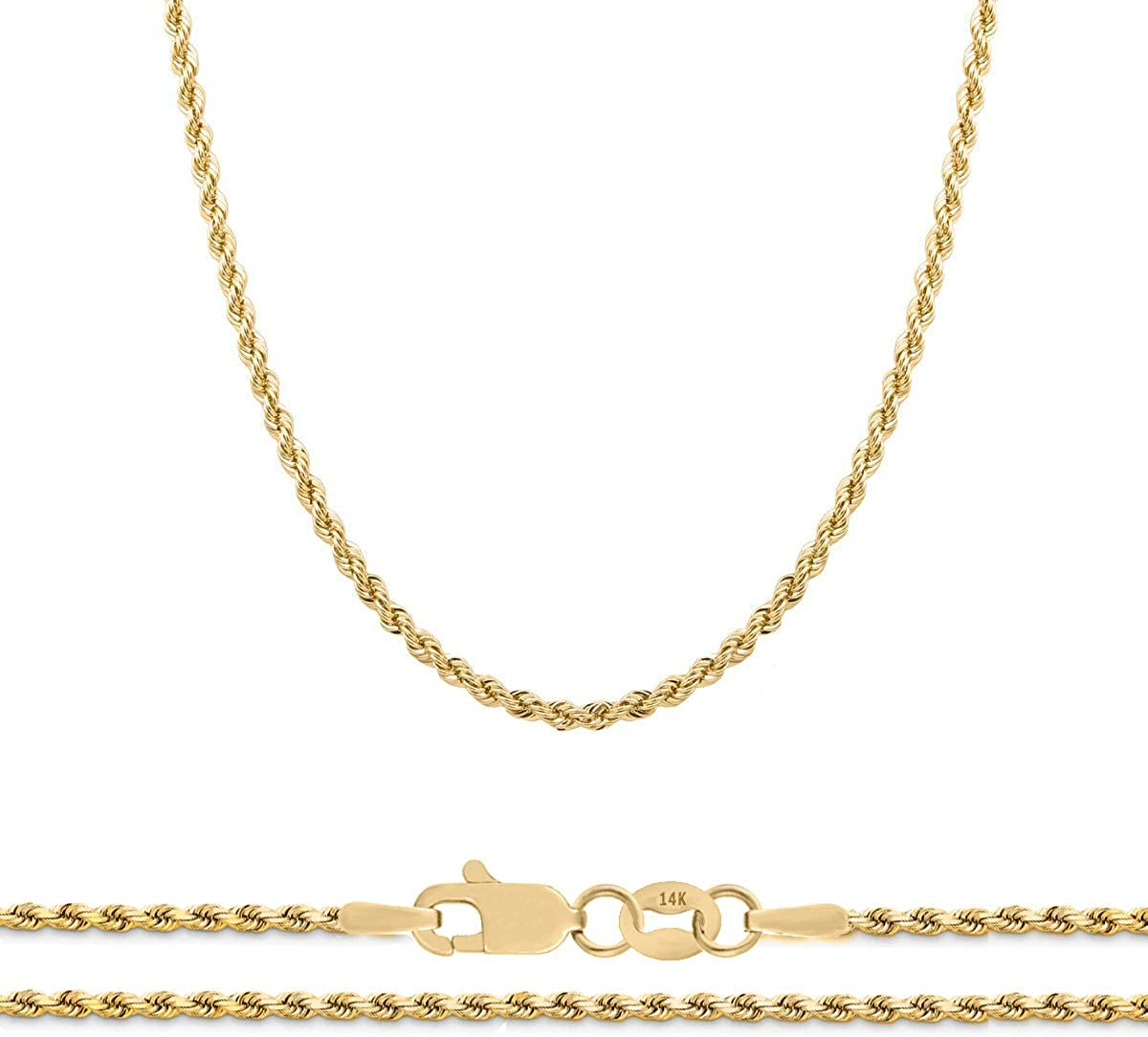"""Orostar 14K Yellow Gold 2mm Diamond Cut Rope Chain Necklace, 16"""" - 30"""""""