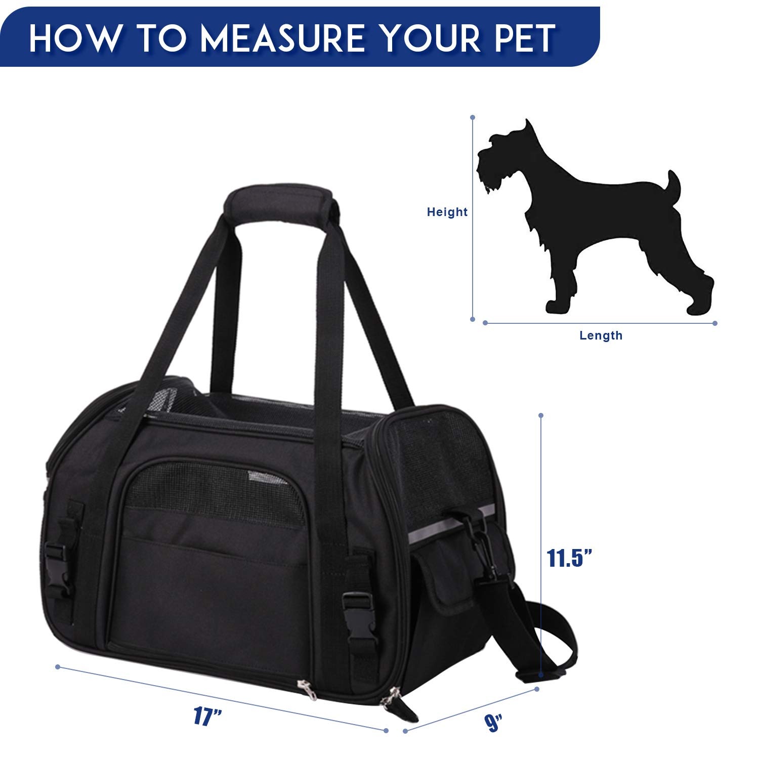 JESPET Soft Sided Pet Carrier Comfort for Airline Travel for Small Animals/Cats/Kitten/Puppy, Black, 17'' x 9'' x 11.5'' by JESPET