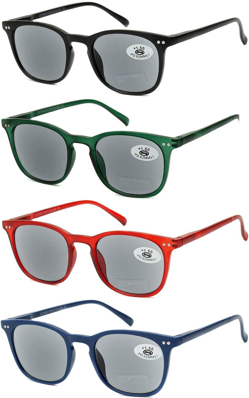 Pack de 4 Gafas de Lectura de Sol Vista Cansada Presbicia con Protección UV 100%, Graduadas Dioptrías +1.00 hasta +3.50, Montura de Pasta, Bisagras de Resorte, Unisex (+300 (836))