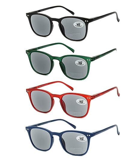 Pack de 4 Gafas de Lectura de Sol Vista Cansada Presbicia con Protección UV 100%, Graduadas Dioptrías +1.00 hasta +3.50, Montura de Pasta, Bisagras de ...