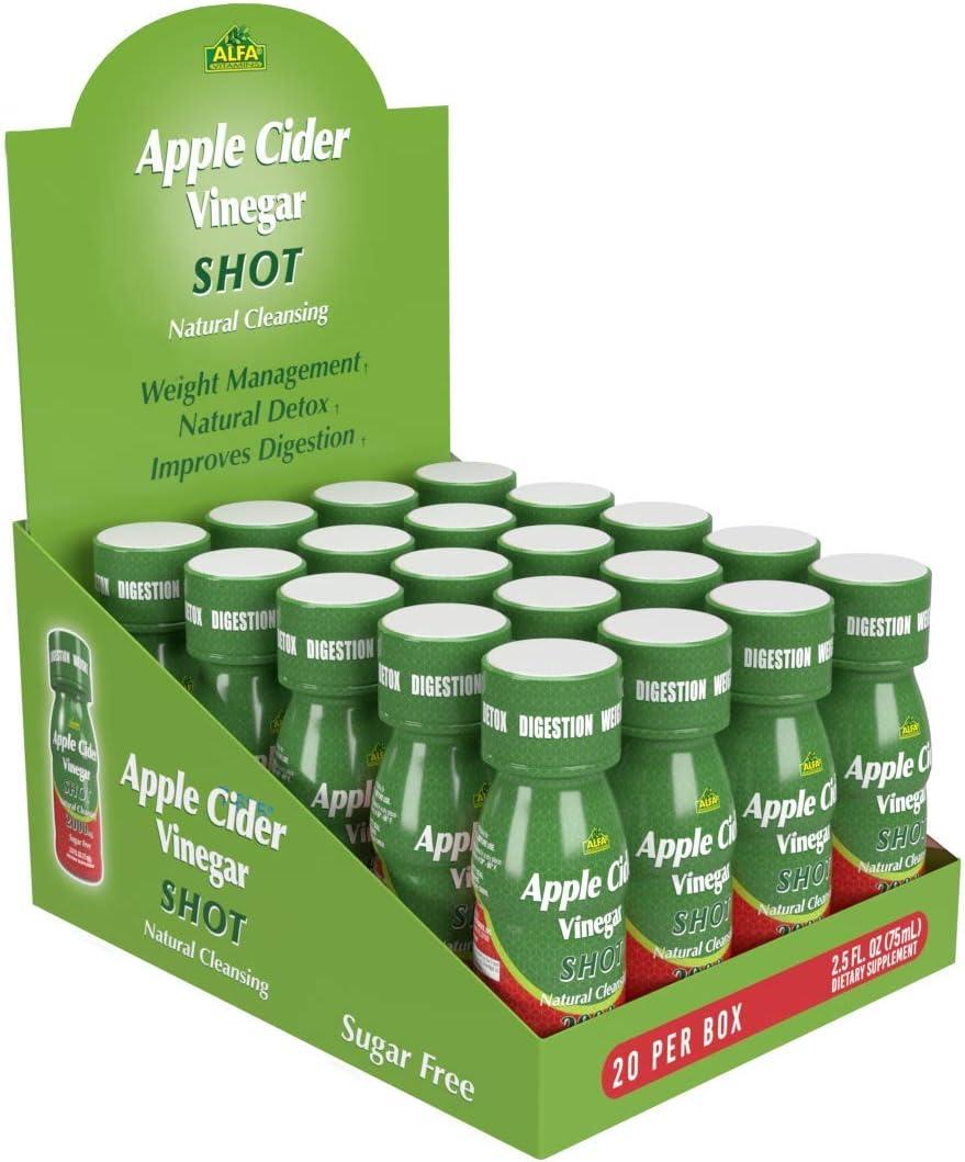 Apple Cider Vinegar Shot 2000 MG, Sugar-Free, Natural Cleansing, Digestion, Detox, Immune, Appetite Suppressant by Alfa Vitamins - Natural Flavor (2.5 FL OZ Bottle) 20 Pack