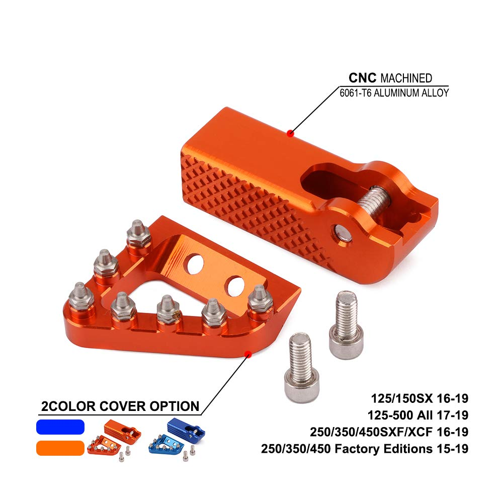 JFG RACING CNC Rear Brake Pedal Step Plate Tip For KTM SXF SX EXCF XCF XCW EXC 125 150 200 250 350 450 500 2017 2018 17 18 Motorcycle - Orange