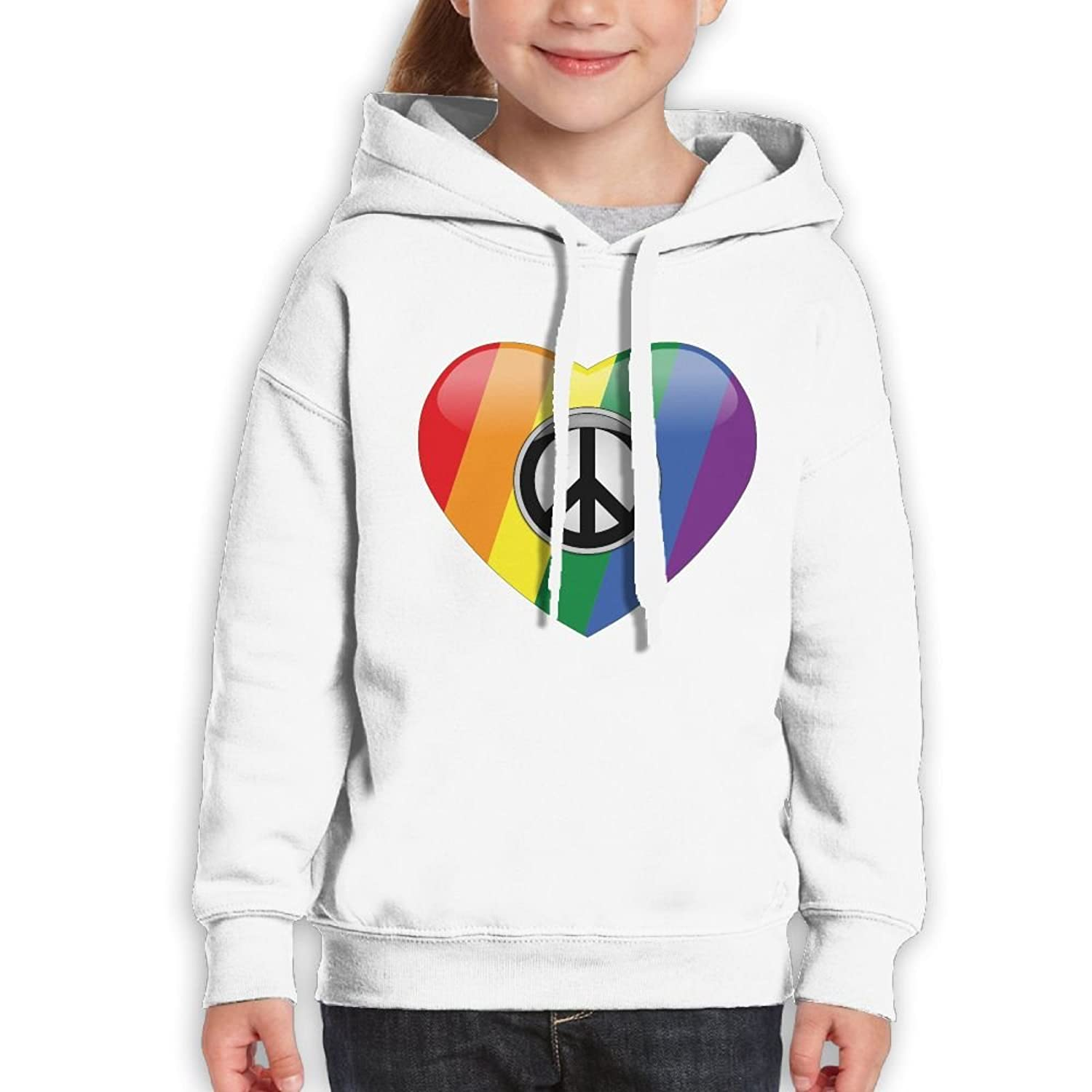 Ijalo Pride Peace Heart Hoodie Youth Pullover Hooded Sweatshirt