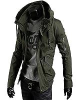 SHEYA メンズ カーゴ おしゃれ コート長袖 ジャケット大きいサイズ メンズ 防風 コート 冬 黑