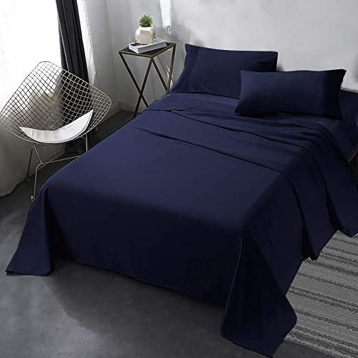 4 Piece Bed Sheets Set Embossed Striped Soft Luxury High Thread Count Microfiber