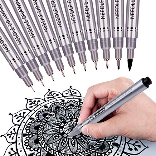 Precision Micro-Line Pens, Fineliner, Multiliner, Waterproof Archival Ink, Artist Illustration, Anime, Sketching, Technical Drawing, Office Documents & Scrapbooking, Manga Pens Writing, 10/Set(Black) ()