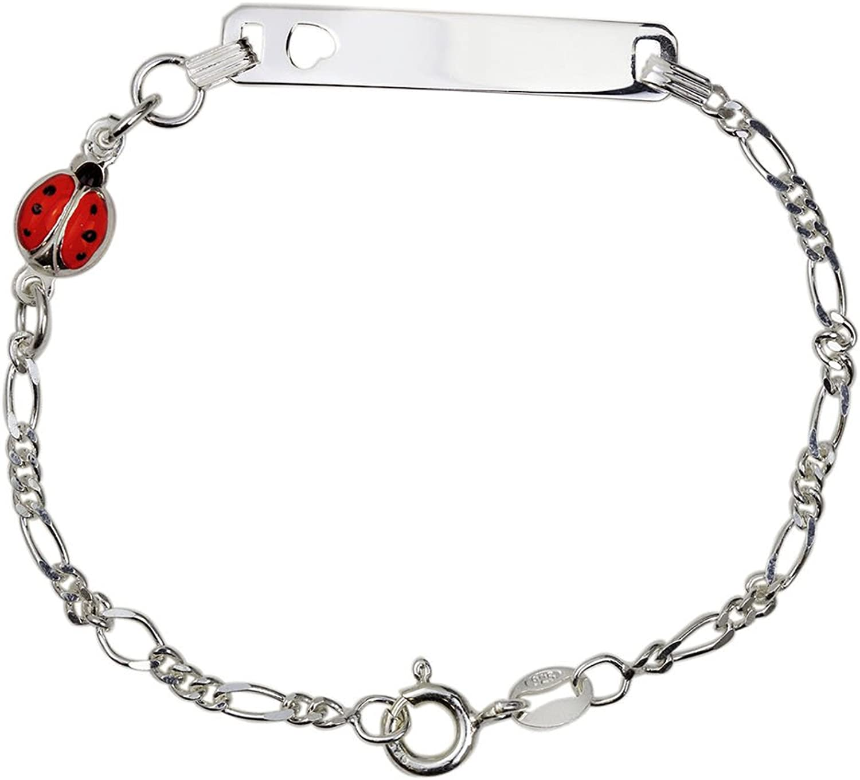 Cadeau Fantaisie Fille Bracelet dIdentification Enfants Argent 925 avec Enfant Rose AKA Bijoux